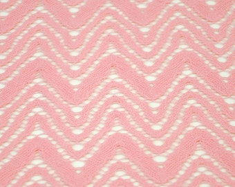 72346c0d1497d2 Pink Open Knit Mountain Top Lace Fabric by the yard Chevron Lace Fabric  Open Knit Lace Cotton Lace Fabric by the yard - 1 Yard Style 6043