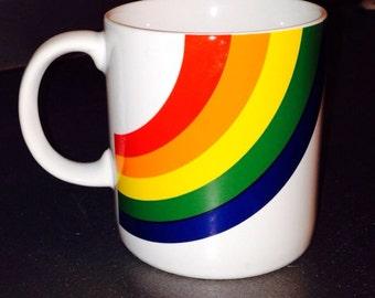 Vintage coffee mug 1980's rainbow