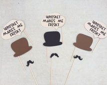 Gentleman's Photo Booth Prop Set; Jack Daniels Themed Photo Booth Props; Whiskey Makes me Frisky Word Bubbles; Mustache Photo Props