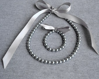 gray pearl set,gray ribbon  set. Little Girl Pearl and ribbon Necklace and Bracelet set ,flower girl gift or first pearls.