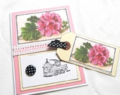 Flower Card with Matching Gift Tag - Victorian Flowers - Blank Card - Live Your Dreams - Pink Card - Card and Gift Tag Set