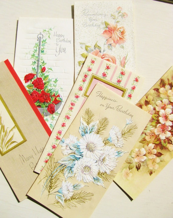 Vintage Happy Birthday cards. Greeting cards. Mid-century cards. Floral. Traditional birthday. Stationery