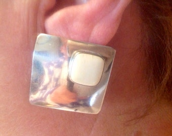 Sterling and Bone Square Earrings