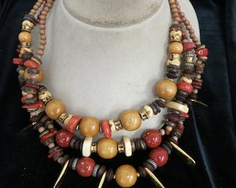 Vintage Chunky Wood & Goldtone Necklace
