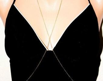 Water & Tarnish Resistant - BIKINI CHAIN - 22 Kt Gold Plated  -  Body Chain, Body Jewelry,Boho ,Beach Jewelry