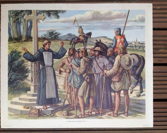 1950s MacMillans History school poster - A Friar and Pilgrims 13th C