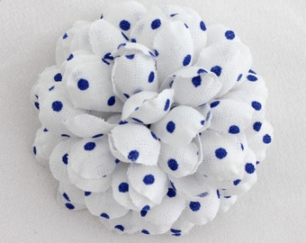 "Men's 2"" (5cm) White with Blue Polka Dots Lapel Flower (Clutch Pin)"