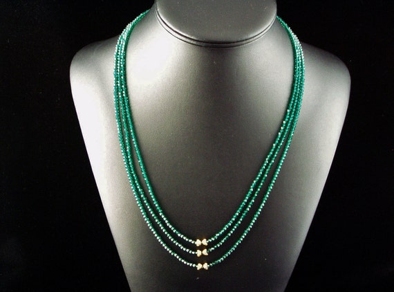 Swarovski emerald crystal necklace with vermeil accents