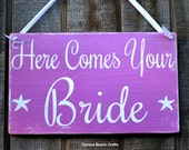 Wedding Sign - Beach Wedding - Radiant Orchid Pantone - Nautical Wedding - Here Comes Your Bride - Decor Purple - Ring Bearer Flower Girl - CarovaBeachSignCo