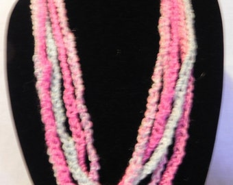 Pink and Blue Crochet Chain Scarf Necklace