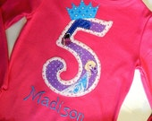 Birthday Shirt.. Disney's Frozen Fabric..Elsa or Anna..And embroidery of child's name,12 mo,2,3,4,5,6,7,8.10,12...Sizes 12 Months To 8 Girls