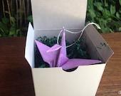 First anniversary - Lavender origami crane box gift - paper crane ornament - lavender print origami crane in gift box - ready to give