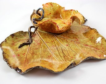 Leaf Platter and Dip Bowl Set, Candle Holder Centerpiece
