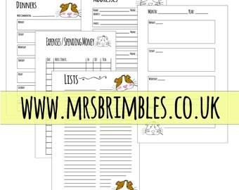 GUINEA PIG Printable Inserts for your PERSONAL size filofax. organiser, day planner or ring binder