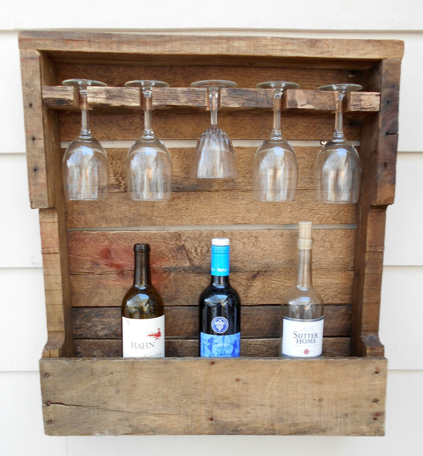 Rustic wood wine rack wine storage wine container 5 glass - Meuble cave a vin en bois ...