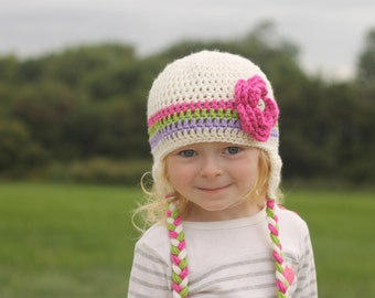 Girls hat - toddler hat - child hat - any size - stripe hat - earflap - crochet flower hat - winter hat - fall hat - photography prop