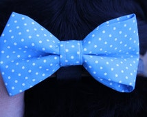 Small Blue Polka Dots Dog Bow Tie - Wedding Accessories For Dogs and Cats