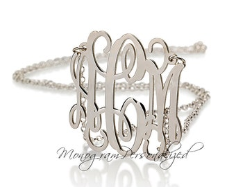 Monogram necklace - 1.25 inch Personalized Monogram - 925 Sterling Silver - monogrammed silver necklace, Initials Three Letters