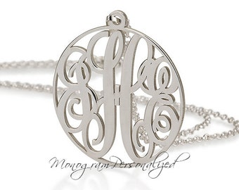 "Circle Silver Monogram necklace - 1.2"" inch Personalized Monogram - 925 Sterling Silver"