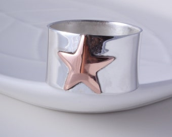 Silver star ring sterling silver and copper star ring handmade choose your size custom made to order 925