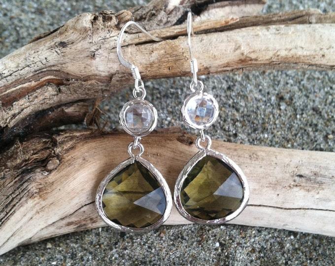Bezel Set, Drop Earring, Faceted Olive Stone, Sterling Silver Ear Wire