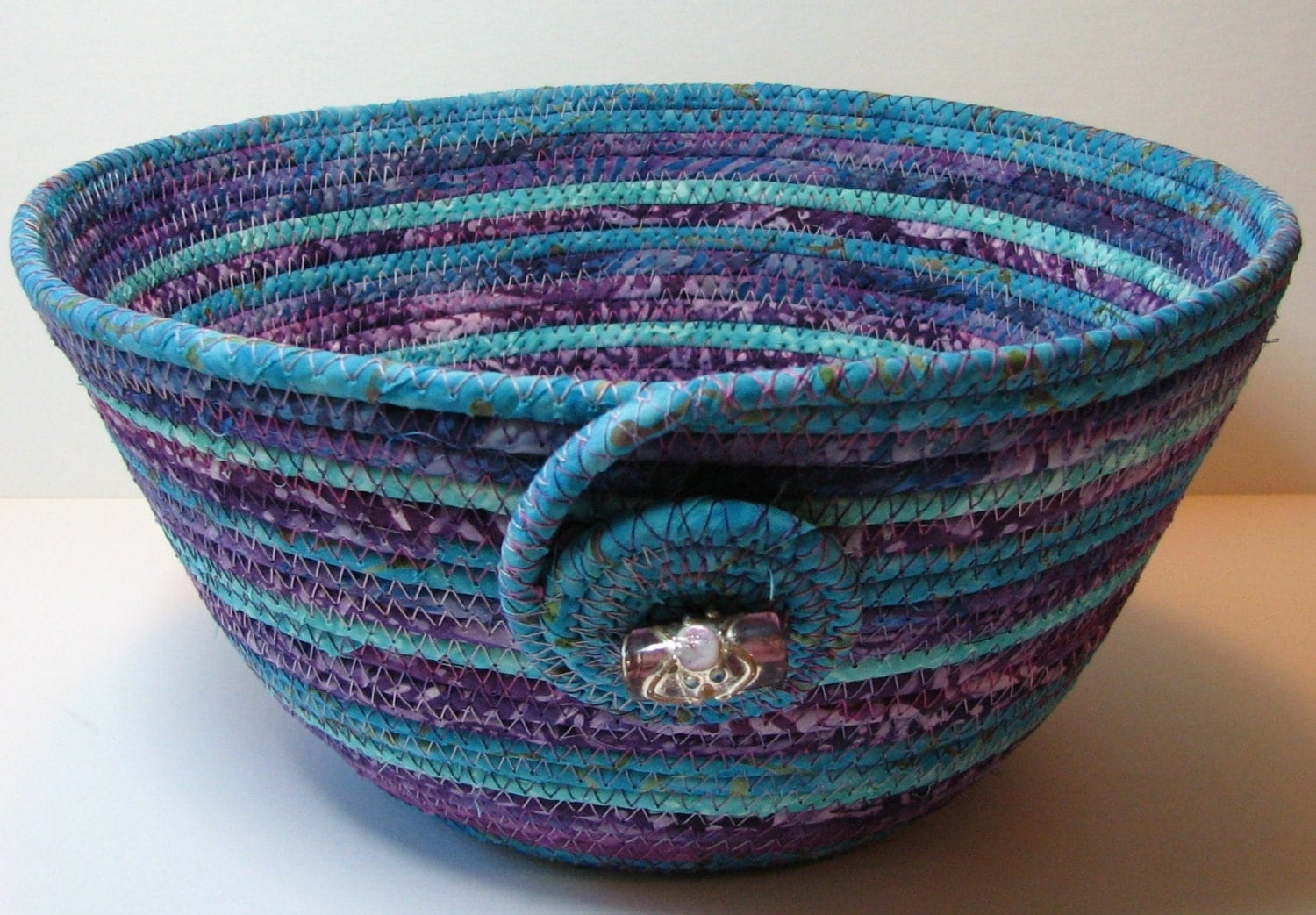 Handmade Coiled Fabric Basket/Bowl purple/turquoise
