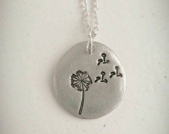 Dandelion necklace - nature necklace - for her - ladies jewelry - flower jewellery - Pretty, dainty, nature, wishes