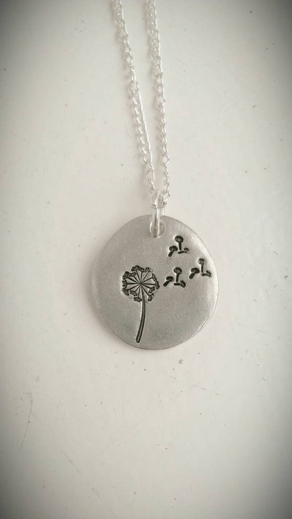 Dandelion necklace - nature necklace - for her - ladies jewelry - flowe jewellery - Pretty, dainty, nature, wishes