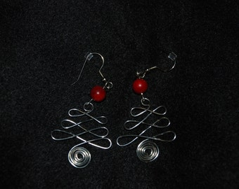 Wire Christmas Tree Earrings