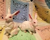 Pair of Vintage, Lefton White Rabbits