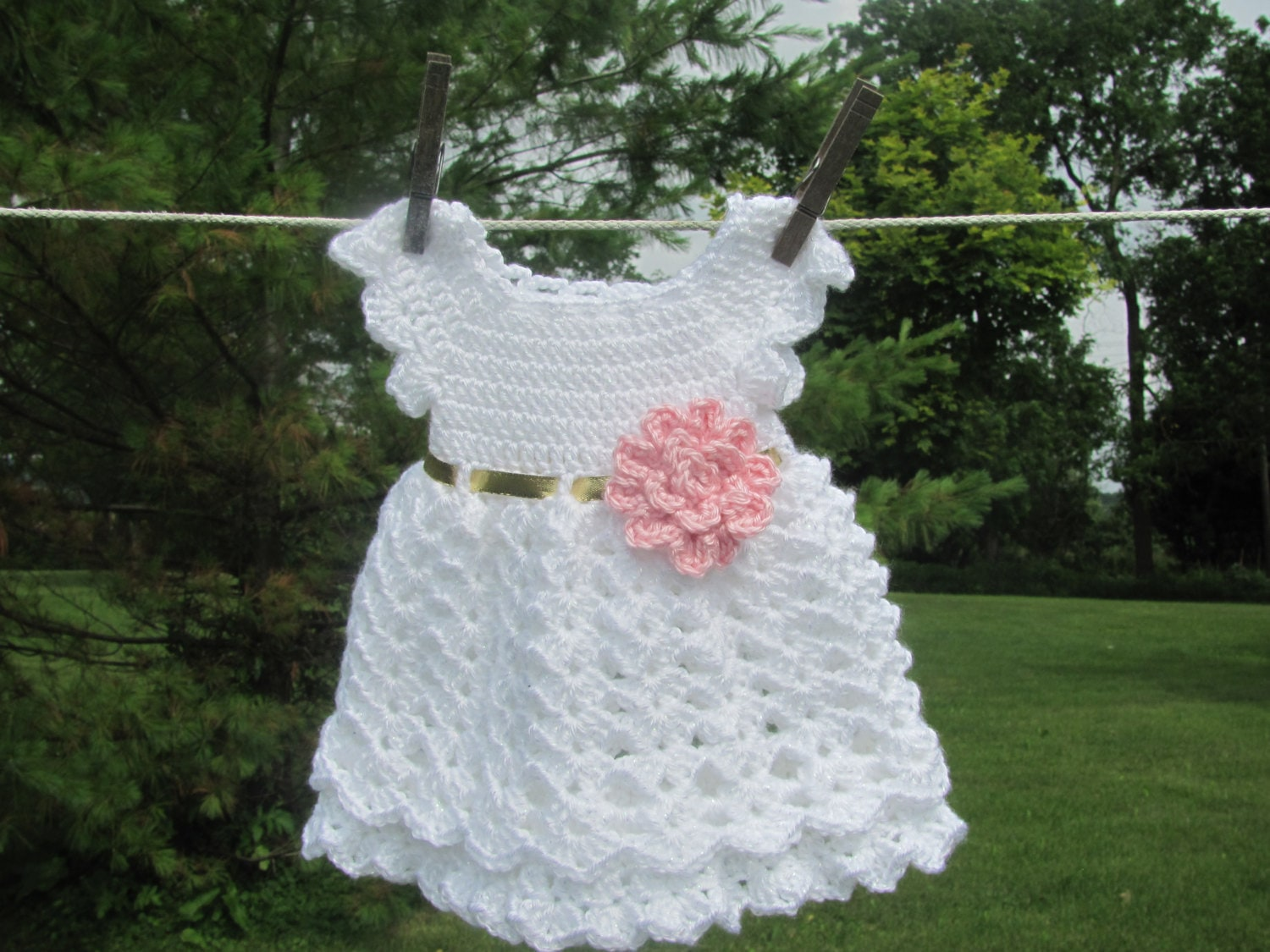 Baby Dress White and Gold Infant Dress Coming Home Newborn