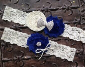 Burlap Wedding Garter, Royal Blue Wedding Garter, Burlap Garter, Lace Wedding Garter, Something Blue Wedding Garter, Burlap Bridal Garter