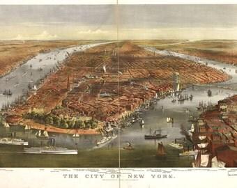 1870s New York City- Bird's Eye View- Map Print