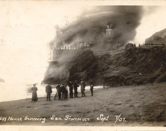 Cliff House Fire- Burning- San Francisco- Pacific Ocean- Photo Print
