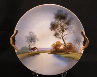 Noritake Handpainted Cake Decorative Plate with Handles
