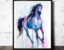 Magical Horse watercolor painting print, animal, illustration, animal watercolor, animals, portrait, blue, watercolor
