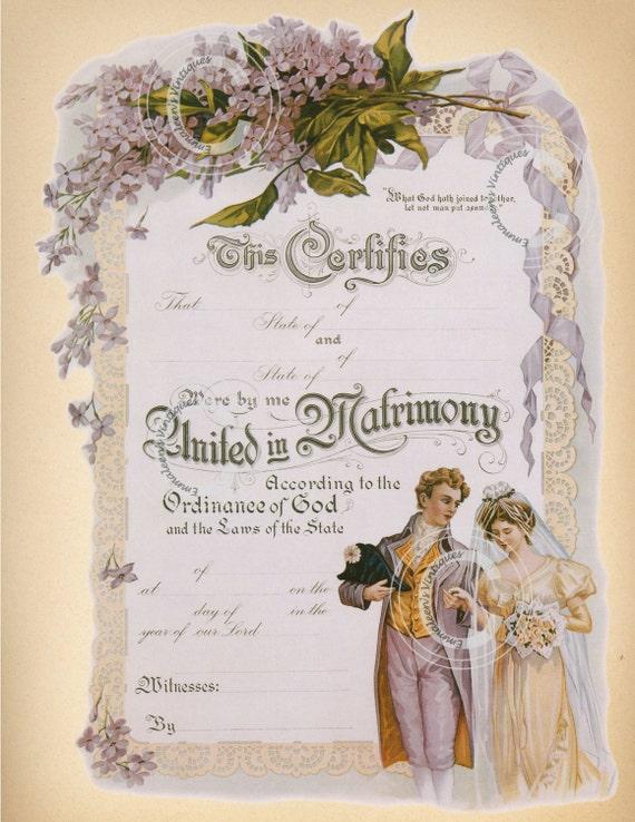 vintage marriage certificate digital image by