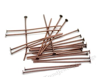 100 Headpins -Antique Copper Headpins- 20 gauge thick - Red Copper Findings - Jewelry Making Supply lot - 35mm long- HP18