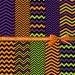 "Halloween digital paper: ""Halloween Chevrons"" chevron digital paper in orange, purple, green and black, Halloween printable paper"