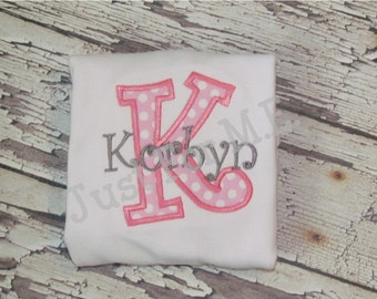 Girls Personalized  Monogram Applique Name and Initial Shirt Bodysuit Baby Bloomers Diaper Cover FREE MONOGRAM