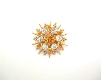 Flower Brooch, Flower Pin, Orange Rhinestone Pin, Orange Rhinestone Brooch, Orange Flower Pin, Orange Flower Brooch, Orange & Gold, Bouquet