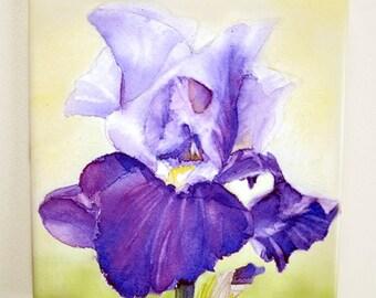 Purple Iris Tile Trivet Watercolor