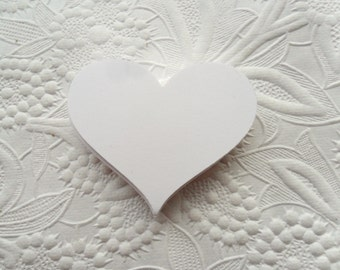 25 White Heart Gift Tags-Favor Tags-Hang Tags-Wedding Tags-Shower Tags--Heart Die Cuts-Valentine's Day Tags