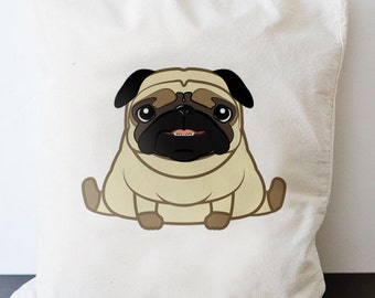 Baby Pug - bag - long handle shopping puppy