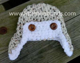 Handmade, Crochet aviator hat, Boy Hat, Winter Hat, Photo Prop