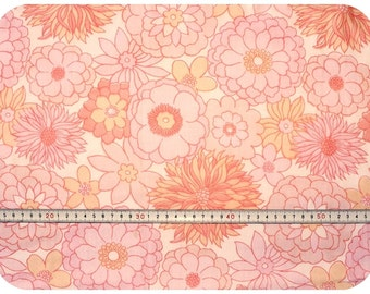Floral retro vintage fabric - pink, salmon and white