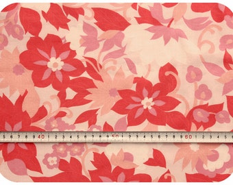 Floral retro vintage fabric - pink, coral and peach