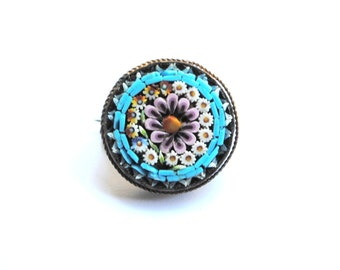 Antique Italian Micro Mosaic Brooch