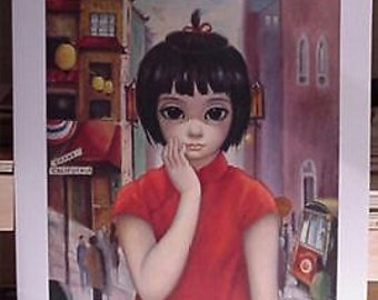Walter Margaret Keane 60's Vintage Lithograph Print Grant Ave. Big Eyes Mid-Century Art SALE!