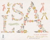 Floral letters A S L, flower type, alphabet, clip art, vector, baby nursery decoration, initials, monograms, wreaths, invitation, birthday